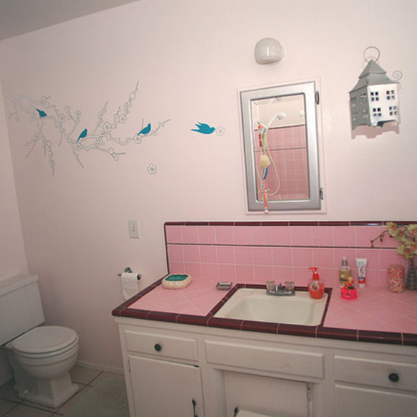 Pink Bathroom Wall Graphics