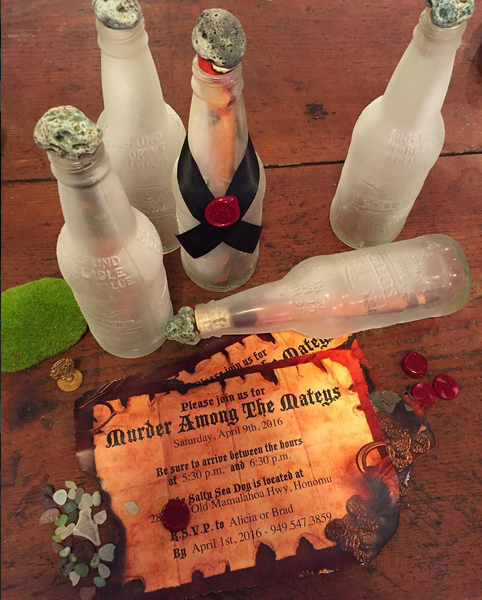 Murder Among the Mateys Message in a bottle invitation